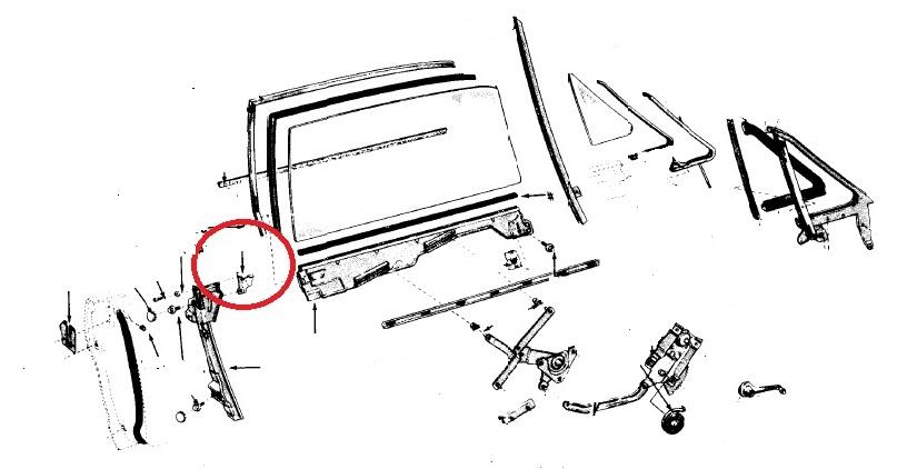 1964 1965 1966 mustang front door window upper rear stop lh 65 mustang diagram break 65 mustang door glass diagram #9